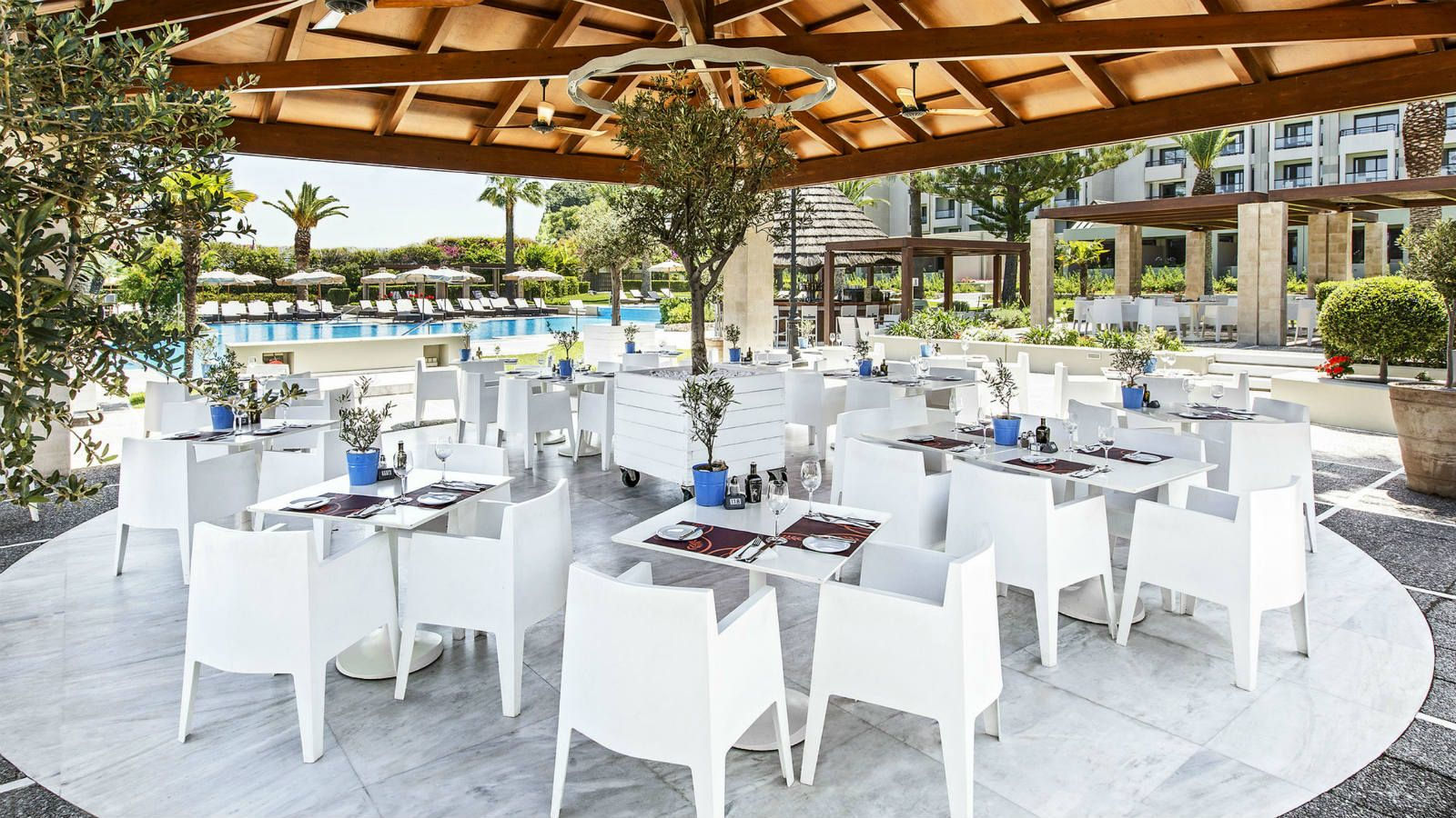 Mediterraneo Restaurant by the main pool at the Sheraton Rhodes Resort