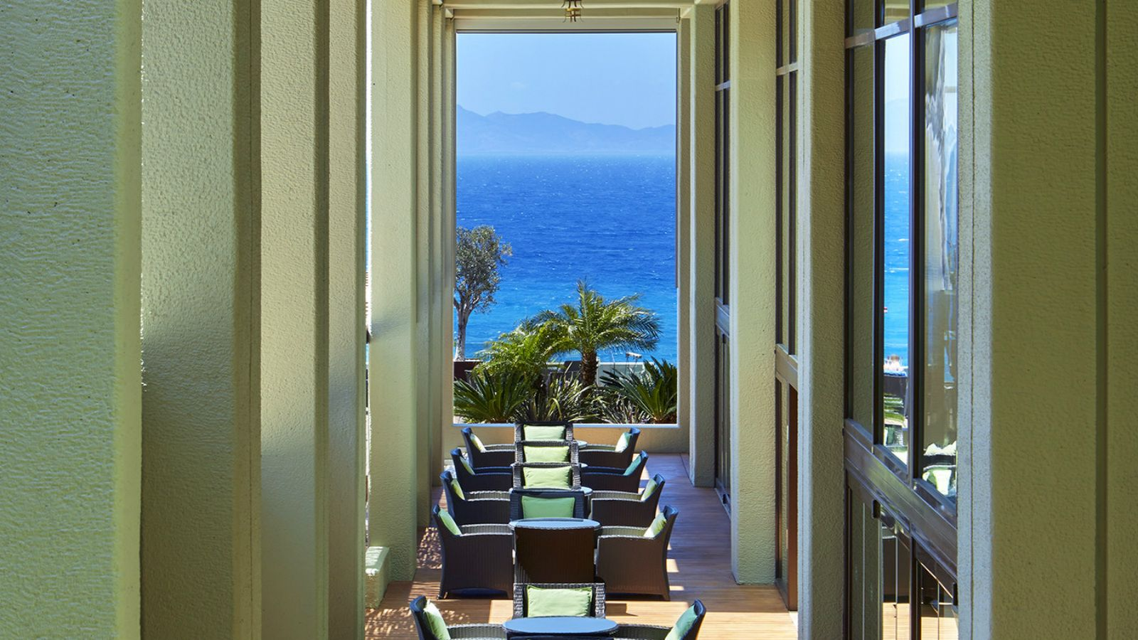 The Lounge Bar is located on the 6th floor with spectacular sea views - Sheraton Rhodes Resort